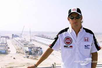Jenson Button visits the Bahrain International Circuit construction site