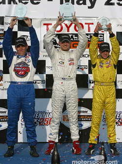 Podium: race winner Ryan Dalziel with Kyle Krisiloff and A.J. Allmendinger
