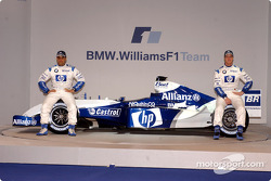 Juan Pablo Montoya and Ralf Schumacher with the new WilliamsF1 BMW FW26