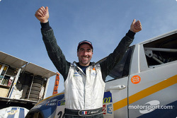 Luc Alphand celebrates stage win
