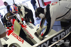 Jenson Button gets ready to test the new BAR 006