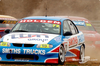 Lee Holdsworth and Jay Verdnik take evasive action after Matthew White spins