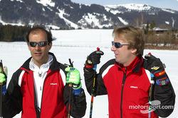 Team mates Emanuele Pirro and Frank Biela