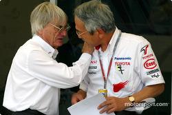 Toyota Team Principal Tsutomu Tomita in a conversation with Bernie Ecclestone