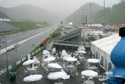 With a heavy down pour and the wind blowing over the tables in the VIP area, NHRA decides today is not a good day for a race and will try again on Monday