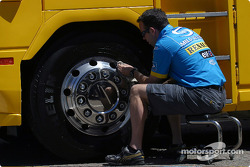 Renault F1 team member washes the transporter