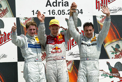 Podium: race winner Mattias Ekström with Christijan Albers and Jean Alesi