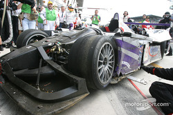 The damaged #8 Audi Sport UK Team Veloqx Audi R8