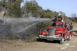 Local firemen fight a bush fire