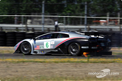 #6 Krohn Barbour Racing Lamborghini Murcielago R-GT: Tracy Krohn, Scott Maxwell catches fire during practice