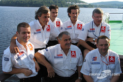 Carlos Sainz, Marc Marti, Sébastien Loeb, Daniel Elena, Guy Fréquelin and Citroën team members enjoy Finland