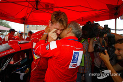 Marcus Gronholm celebrates win with Corrado Provera
