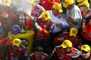 Victory lane: race winner Jeff Gordon celebrates with his team