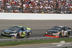 Brian Vickers and Kurt Busch fight for position