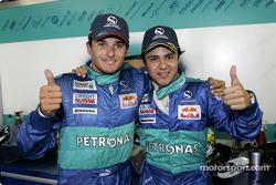 Giancarlo Fisichella and Felipe Massa celebrate 4th and 5th place finish
