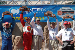 Podium: race winner Sébastien Bourdais with Paul Tracy, Carl Haas, Paul Newman and Bruno Junqueira