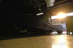 Sunset over Renault F1 garage area