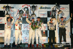 P1 podium: class and overall winners Marco Werner, JJ Lehto, with Johnny Herbert, Pierre Kaffer, and Chris Dyson, Jan Lammers