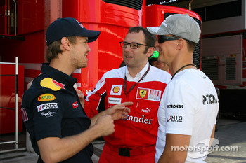 Sebastian Vettel, Red Bull Racing with Stefano Domenicali Ferrari General Director and Michael Schumacher, Mercedes GP