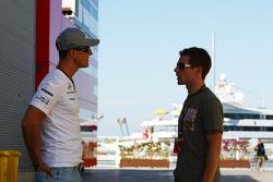 Michael Schumacher, Mercedes GP and Anthony Davidson