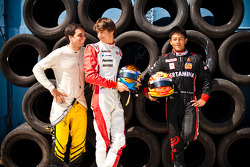 Esteban Gutierrez and Rio Haryanto, winners at round 2 of the GP3 series are joined by Jerome D'Ambrosio