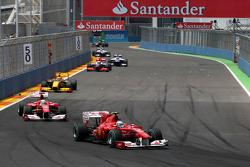 Fernando Alonso, Scuderia Ferrlari leads Felipe Massa, Scuderia Ferrari