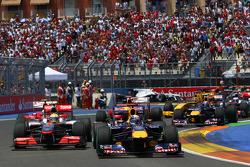 Start of the race, Lewis Hamilton, McLaren Mercedes and Sebastian Vettel, Red Bull Racing