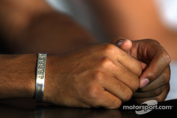 The 46664 bracelet of Lewis Hamilton, McLaren Mercedes