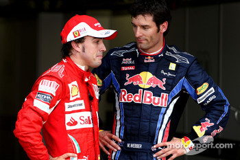 Third place Fernando Alonso, Scuderia Ferrari, second place Mark Webber, Red Bull Racing