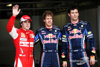 Pole winner Sebastian Vettel, Red Bull Racing, with second place Mark Webber, Red Bull Racing and third place Fernando Alonso, Scuderia Ferrari