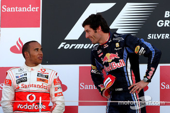 Podium: race winner Mark Webber, Red Bull Racing, second place Lewis Hamilton, McLaren Mercedes