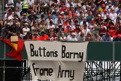 A banner for Jenson Button, McLaren Mercedes