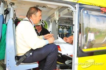 Randy De Puniet, LCR Honda MotoGP in the emergency vehicle after his crash