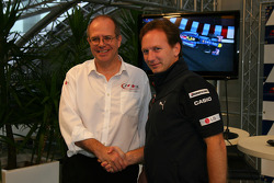 Dermot Boden, Chief Marketing Officer for LG Electronics shakes hands with Christian Horner, Red Bull Racing, Sporting Director after announcing a deal with LG and Redbull