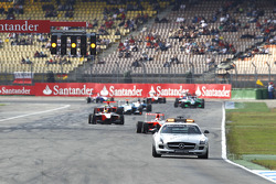 The safety car leads Daniel Juncadella, Esteban Gutierrez and the field