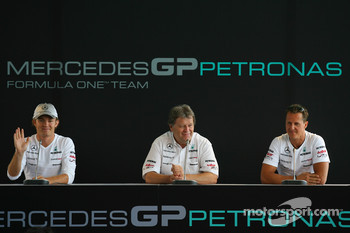 Nico Rosberg, Mercedes GP with Norbert Haug, Mercedes, Motorsport chief and Michael Schumacher, Mercedes GP