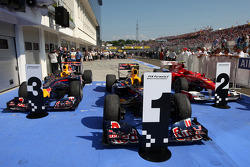 The cars in parc ferme of the top 3, Mark Webber, Red Bull Racing, Fernando Alonso, Scuderia Ferrari, Sebastian Vettel, Red Bull Racing