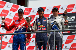 Podium from left: James Calado, Jean-Eric Vergne and Gabriel Dias