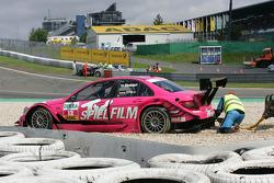 Susie Stoddart, Persson Motorsport, AMG Mercedes C-Klasse in the gravel after a crash in the first corner