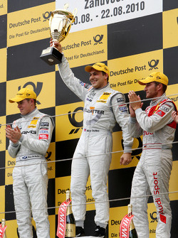 Podium: race winner Gary Paffett, Team HWA AMG Mercedes C-Klasse, second place Paul di Resta, Team HWA AMG Mercedes C-Klasse, third place Timo Scheider, Audi Sport Team Abt Audi A4 DTM