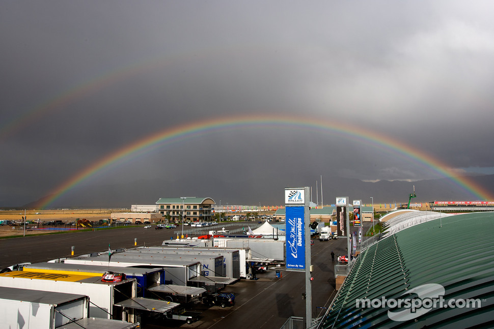 Double rainbow over the Miller Motorsports Park paddock