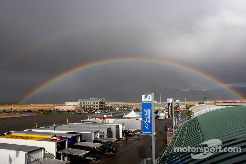 Double rainbow over the Miller Motorsports Park paddock