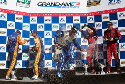 DP podium: Scott Pruett, Memo Rojas, Jon Fogarty, Alex Gurney, Max Angelelli and Ricky Taylor celebrate with champagne
