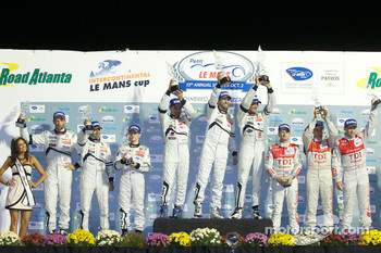 LMP1 podium: class and overall winners Pedro Lamy, Franck Montagny and Stéphane Sarrazin, second place Marc Gene, Alexander Wurz and Anthony Davidson, third place Rinaldo Capello, Tom Kristensen and Allan McNish