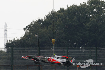 Car of Lewis Hamilton, McLaren Mercedes after he crashes during first practice