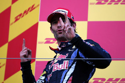 Podium: second place Mark Webber, Red Bull Racing