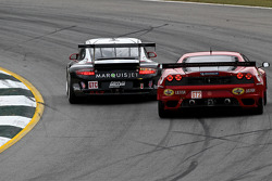 #48 Paul Miller Racing Porsche 911 GT3 Cup: Bryce Miller, Luke Hines, Pierre Ehert, #61 Risi Competizione Ferrari F430 GT: Giancarlo Fisichella, Jaime Melo, Mika Salo