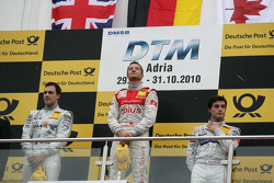Podium: race winner Timo Scheider, Audi Sport Team Abt Audi A4 DTM, second place Gary Paffett, Team HWA AMG Mercedes C-Klasse, third place Bruno Spengler, Team HWA AMG Mercedes C-Klasse