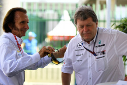 Emerson Fittipaldi and Norbert Haug, Mercedes, Motorsport chief