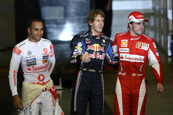 Pole winner Sebastian Vettel, Red Bull Racing, second place Lewis Hamilton, McLaren Mercedes, third place Fernando Alonso, Scuderia Ferrari